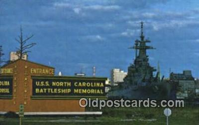 shi003440 - USS North Carolina Battleship, Wilmington Military Battleship Postcard Post Card Old Vintage Anitque