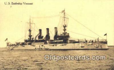 shi003462 - US Battleship, Vermont Military Battleship Postcard Post Card Old Vintage Anitque