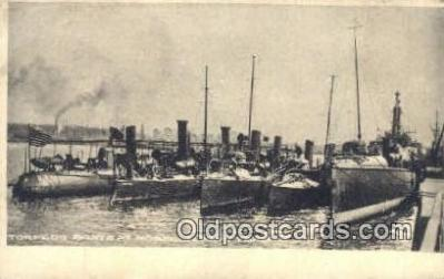 shi003464 - Torpedo Boats, Norfolk Navy Yard Military Battleship Postcard Post Card Old Vintage Anitque