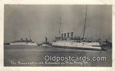 shi003472 - Minneapolis & Columbia, Phila. Navy Yard Military Battleship Postcard Post Card Old Vintage Anitque