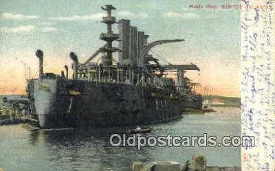 shi003486 - Battle Ship, Rhode Island Military Battleship Postcard Post Card Old Vintage Anitque
