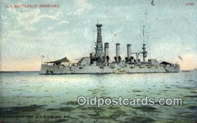 shi003492 - US Battleship, Nebraska Military Battleship Postcard Post Card Old Vintage Anitque