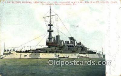shi003511 - US Battleship Indiana Military Battleship Postcard Post Card Old Vintage Anitque