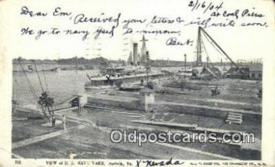 shi003517 - US Navy Yard, Norfolk Military Battleship Postcard Post Card Old Vintage Anitque