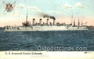 shi003519 - US Armored Cruiser Columbia Military Battleship Postcard Post Card Old Vintage Anitque