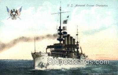 shi003524 - US Armored Cruiser Charleston Military Battleship Postcard Post Card Old Vintage Anitque