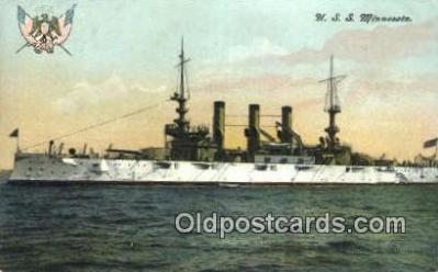 shi003539 - USS Minnesota Military Battleship Postcard Post Card Old Vintage Anitque