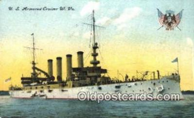 shi003543 - US Armored Cruiser W. VA. Military Battleship Postcard Post Card Old Vintage Anitque