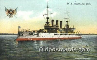 shi003549 - US Battleship Ohio Military Battleship Postcard Post Card Old Vintage Anitque