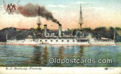 shi003564 - US Battleship Kentucky Military Battleship Postcard Post Card Old Vintage Anitque