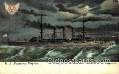 shi003566 - US Battleship Virginia Military Battleship Postcard Post Card Old Vintage Anitque