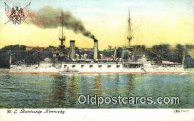 shi003568 - US Battleship Kentucky Military Battleship Postcard Post Card Old Vintage Anitque