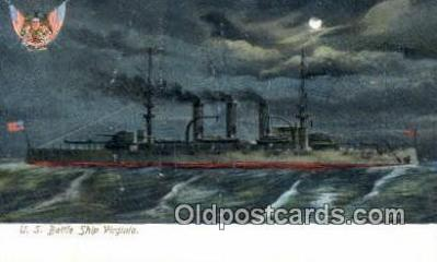 shi003570 - US Battle Ship Virginia Military Battleship Postcard Post Card Old Vintage Anitque