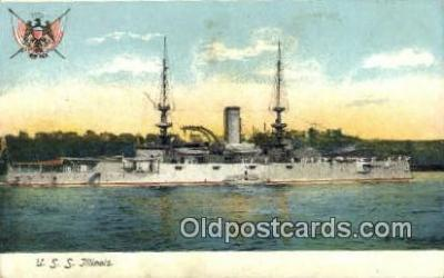 shi003581 - USS Illinois Military Battleship Postcard Post Card Old Vintage Anitque
