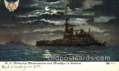 shi003587 - US Battleship Massachusetts, Brooklyn Military Battleship Postcard Post Card Old Vintage Anitque