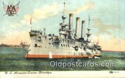 shi003595 - US Armored Cruiser Brooklyn Military Battleship Postcard Post Card Old Vintage Anitque