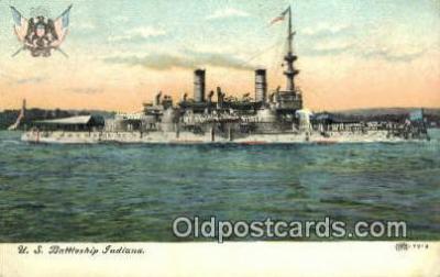 shi003597 - US Battleship Indiana Military Battleship Postcard Post Card Old Vintage Anitque