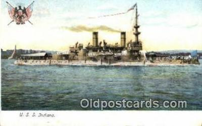 shi003598 - USS Indiana Military Battleship Postcard Post Card Old Vintage Anitque