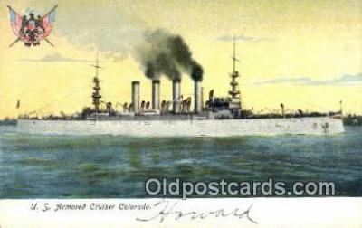 shi003605 - us Armored Cruiser Colorado Military Battleship Postcard Post Card Old Vintage Anitque