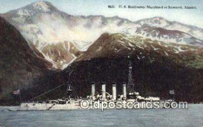 shi003610 - US Battleship Maryland, Seward, Alaska Military Battleship Postcard Post Card Old Vintage Anitque