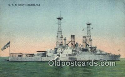 shi003612 - USS South Carolina Military Battleship Postcard Post Card Old Vintage Anitque