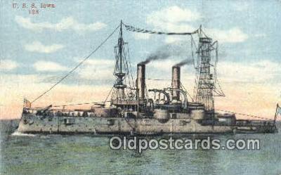 shi003644 - USS Iowa Military Battleship Postcard Post Card Old Vintage Anitque