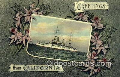 shi003667 - USS Kentucky Military Battleship Postcard Post Card Old Vintage Anitque