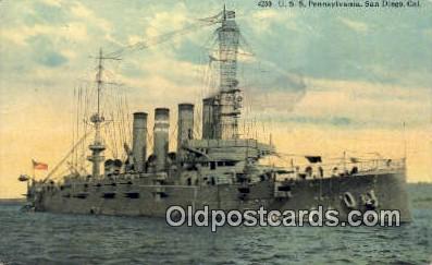 shi003675 - USS Pennsylvania, San Diego, CA Military Battleship Postcard Post Card Old Vintage Anitque