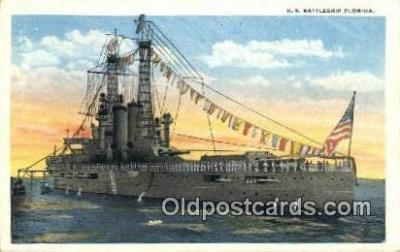 shi003678 - US Battleship Florida Military Battleship Postcard Post Card Old Vintage Anitque