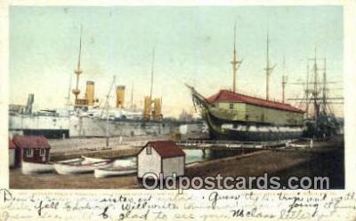shi003683 - Warships & Old Ironsides, Charlestown Navy Yard Military Battleship Postcard Post Card Old Vintage Anitque