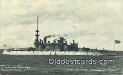 shi003700 - Battleship Indiana Military Battleship Postcard Post Card Old Vintage Anitque