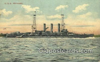 shi003714 - USS Minnesota Military Battleship Postcard Post Card Old Vintage Anitque
