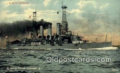 shi003715 - USS Virginia Military Battleship Postcard Post Card Old Vintage Anitque