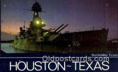 shi003726 - Battleship Texas, Houston Military Battleship Postcard Post Card Old Vintage Anitque