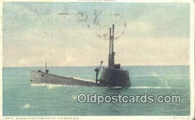 shi003741 - Submarine Surfacing Submarine Postcard Post Card Old Vintage Antique