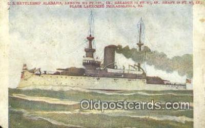 shi003749 - US BS Alabama, Philadelphia, Pennsylvania, PA USA Military Battleship Postcard Post Card Old Vintage Antique