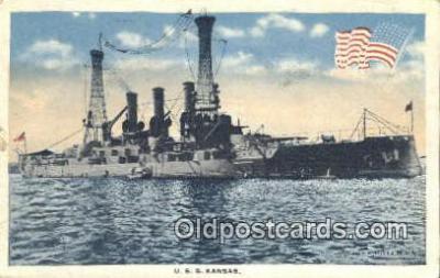 shi003753 - USS Kansas Military Battleship Postcard Post Card Old Vintage Antique