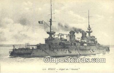 shi003814 - Breast Depart Du Gaulois Military Battleship Postcard Post Card Old Vintage Antique