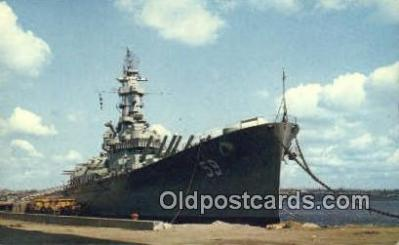 shi003817 - USS Massachusetts, Fall River, Massachusetts, MA USA Military Battleship Postcard Post Card Old Vintage Antique