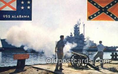 shi003826 - USS Alabama, Mobile Bay, Alabama, AL USA Military Battleship Postcard Post Card Old Vintage Antique