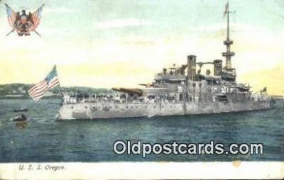 shi003873 - USS Oregon Military Battleship Postcard Post Card Old Vintage Antique