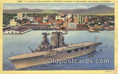 shi003889 - US Navy Carrier At Anchor, San Diego, California, CA USA Military Battleship Postcard Post Card Old Vintage Antique