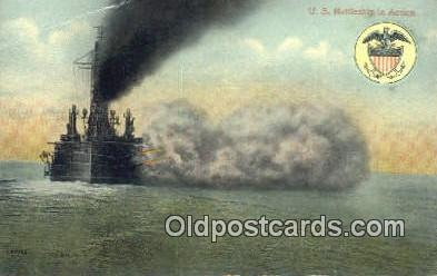 shi003897 - Ship In Action Military Battleship Postcard Post Card Old Vintage Antique