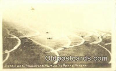 shi003903 - Destroyers Laying Smoke Screen Military Battleship Postcard Post Card Old Vintage Antique