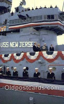shi003927 - USS New Jersey, BB-62 Military Battleship Postcard Post Card Old Vintage Antique