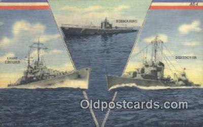 shi003936 - Navy, Light Cruiser, Submarine, and, Destroyer Military Battleship Postcard Post Card Old Vintage Antique