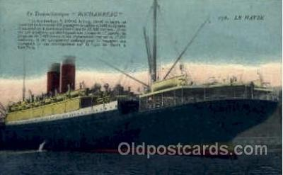 shi004052 - Rochambeau, Le Harve French Line Ship Ships Postcard Postcards