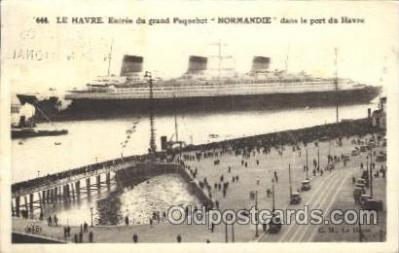 shi004085 - Paris 1937 Exposition International postal marking on back of card, Normandie Le Havre French Line, Lines, Ship Ships Postcard Postcards