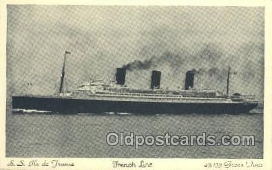 shi004123 - SS Ile De France Steamer, Steam Boat, Ship Ships, Postcard Postcards