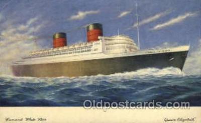 shi005073 - Queen Elizabeth Cunard White Star Line Ship, Ships, Postcard Postcards